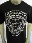 Americana Tattoo Tiger Face Lion Japan tee shirt men's black choose A Size