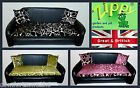 ZIPPY FAUX LEATHER DOG BED - 3 SIZES  WASHABLE FLORAL CHENILLE - REFLEX MATTRESS