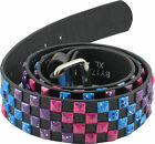 Retro Studded Snap Belt- Black, Purple, Pink, Blue Checkered