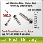 M2.5 A2 Stainless Steel SOCKET CAP Screws Allen Key Socket Screw Bolts SMALL QTY
