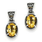Citrine Post Earrings Sterling Silver w/ 14K Gold Accent Push Back Shey Couture