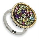 Multi Gemstone Ring .925 Sterling Silver & 14K Gold Accent Sz 6 - 8 Shey Couture