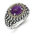Amethyst Oval Ring .925 Sterling Silver & 14K Gold Accent Size 6-8 Shey Couture
