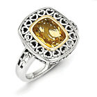 Citrine Heart Ring .925 Sterling Silver & 14K Gold Accent Size 6-8 Shey Couture