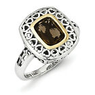 Smokey Quartz Ring .925 Sterling Silver & 14K Gold Accent Size 6-8 Shey Couture