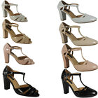 NEW WOMENS LADIES T-BAR BUCKLE SANDAL CASUAL WORK PARTY HIGH HEEL SHOES SIZE 3-8