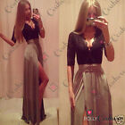 Womens Sexy Lace Black Maxi V Neck Plunge Cocktail Evening Prom Ladies Dress