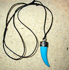 SHAPED SHARK TOOTH PENDANT BLACK CORD NECKLACE BLUE WHITE OR BLACK SURF BEACH