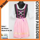Womens Authentic German Red Pink Check Dirndl Oktoberfest Dress Ladies Costume