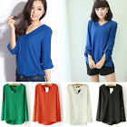 Womens Chiffon Long Sleeve T Shirt Sexy V Neck Loose Tops Blouse S M L