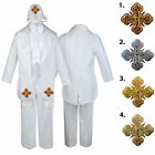 5-7pc White Baby Kid Boy Christening Paisley Tail Tuxedo Suits Cross Hat Stole