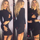 Womens Sexy Black Cut Out Wrap Bodycon Long Sleeve Party Prom Evening Dress