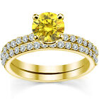 0.5 Carat Yellow Diamond Engagement Bridal Solitaire Ring Band 14K Yellow Gold