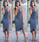 Womens Ladies Sexy Sleeveless Curved Hem Bodycon Cocktail Day Tunic Summer Dress