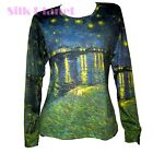 VINCENT VAN GOGH STARRY NIGHT OVER RHONE LS T SHIRT PAINTING  FINE ART PRINT *