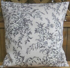 BRAND NEW LAURA ASHLEY CUSHION COVERS PICARDIE CHARCOAL GREY ON  A LIGHT GREY