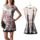 Retro Women Vintage Shift Flying Bird Print Short Sleeve A-Line Bohemia Dress