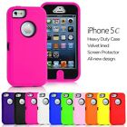 ULTRA TOUGH & IMPACT RESISTANT BUILT IN SCREEN & LOGO CASE COVER FOR iPHONE 5C