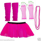 LADIES GIRLS PINK NEON COLOUR TUTU SKIRT BEADS LONG GLOVES LEG WARMERS SET