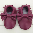 Cute Toddler Baby Infant Soled Leather Moccasins Bow Fringe Shoes 0-24 Months
