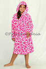 Girls Coral Fleece Hooded Dressing Gown Robe Hot Pink Leopard sz 3 4 5 6 7
