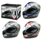 Dragon Blue Silver Red and Black Full Face Motorcycle Helmet inc Visor Motorbike