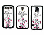 PERSONALIZED RUBBER CASE FOR SAMSUNG S4 S5 PINK BLACK FLOWER SCROLL