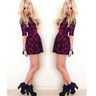 Fashion Women Round Neck Dress Summer Half Sleeve Red Plaid Dress New Applied
