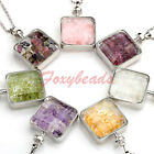 LOT Square Crystal Glass Wish Bottle Box Gems Beads Chip Pendant Chain Necklace