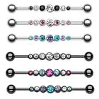Industrial Barbell Cartilage Piercing CZ Clear Pink Tanzanite Teal Body Jewelry