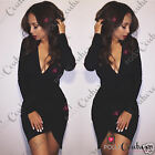 Womens Short Black Bodycon Drape Asymmetric Sexy Plunge Fitted Long Sleeve Dress