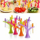 Food Pick Fruit Dessert Cake Decor Colorful Tree Bird 6pcs Forks Kitchen Gadget