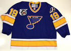 BRENDAN SHANAHAN ST LOUIS BLUES CCM VINTAGE BLUE JERSEY WITH NHL 75TH PATCH