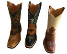 Men cowboy boots Genuine Cowhide Leather square toe rodeo western BOOTS best $$