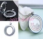 LIVING MEMORY GLASS FLOATING CHARMS LOCKET PENDANT HEART ROUND NECKLACE