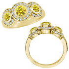 2 Carat Yellow Diamond Fancy Halo 3 Stone Engagement Bridal Ring 14K Yellow Gold