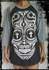 Unisex Skull Cross Eyes Raglan 3/4 Length Sleeve Baseball T-Shirt (Vest Jumper)