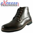 Firetrap Mens Malone 5 Eye Lace Up Casual Leather Designer Boots Brn *AUTHENTIC*