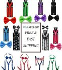 Quality SUSPENDERS and BOW TIE MATCHING SETTuxedo Suit Suspender Wedding USA