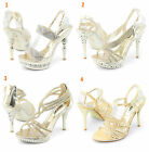Womens sale Gold Evening wedding Prom Party Dress High Heel Bridal Shoes Sandals