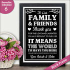 PERSONALISED Wedding Thank You Family and Friends Signs  Chalkboard Vintage