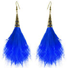 FJ099 Feather Earrings 12 Colors Bronze Accessory Charm Light Dangle Eardrop New