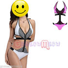Sexy Womens Bandage Bikini Set zipper Monokini Padded Bathing Suit Swimwear