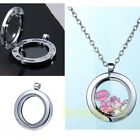 HOT Silver Living Memory Glass Round Floating Charms Locket Pendant Jewellery