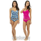 Tummy Control Padded Tankini Top and Bottoms Set Blue/Pink Size 10-22 NEW
