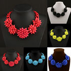 Charm Crystal Acrylic Flower Chain Choker Chunky Statement Collar Necklace #10H