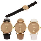 New Anchors Pattern Leather Band Quartz Analog Female Form Large Dial  T54S