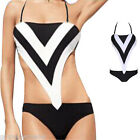 Womens Lady Stripe One Piece Bikini Halter Monokini Bathing Suit Swimwear