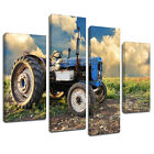 MSC115 Old Blue Tractor Sunrise Canvas Wall Art Multi Panel Split Picture Print