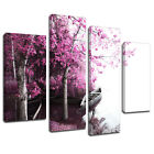 MSC349 Lakes Edge Lilac Trees Canvas Wall Art Multi Panel Split Picture Print